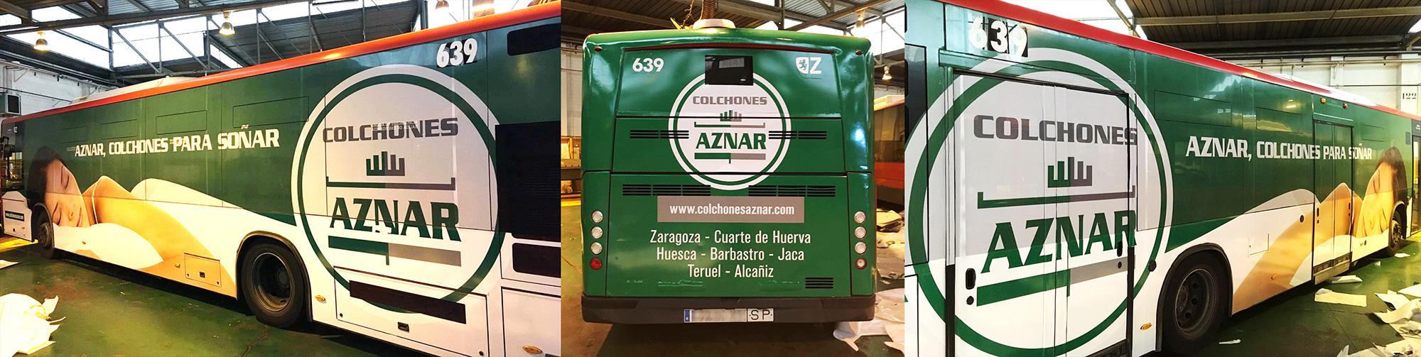 Autobús integral publicidad Zaragoza - Colchones Aznar